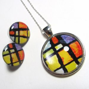 mosaics button necklace and earrings gift se-1863 (800x672)