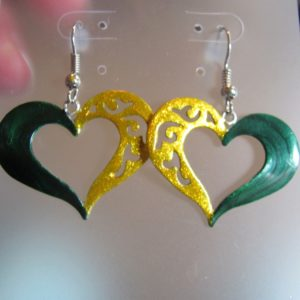 Green and gold open heart earrings