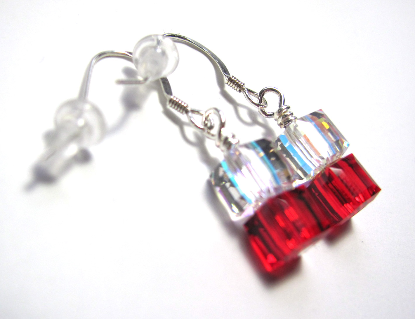 44d6ee4c1bf22 Siam & Iridescent Earrings - Swarovski Crystal Beaded 8mm Cube Earrings